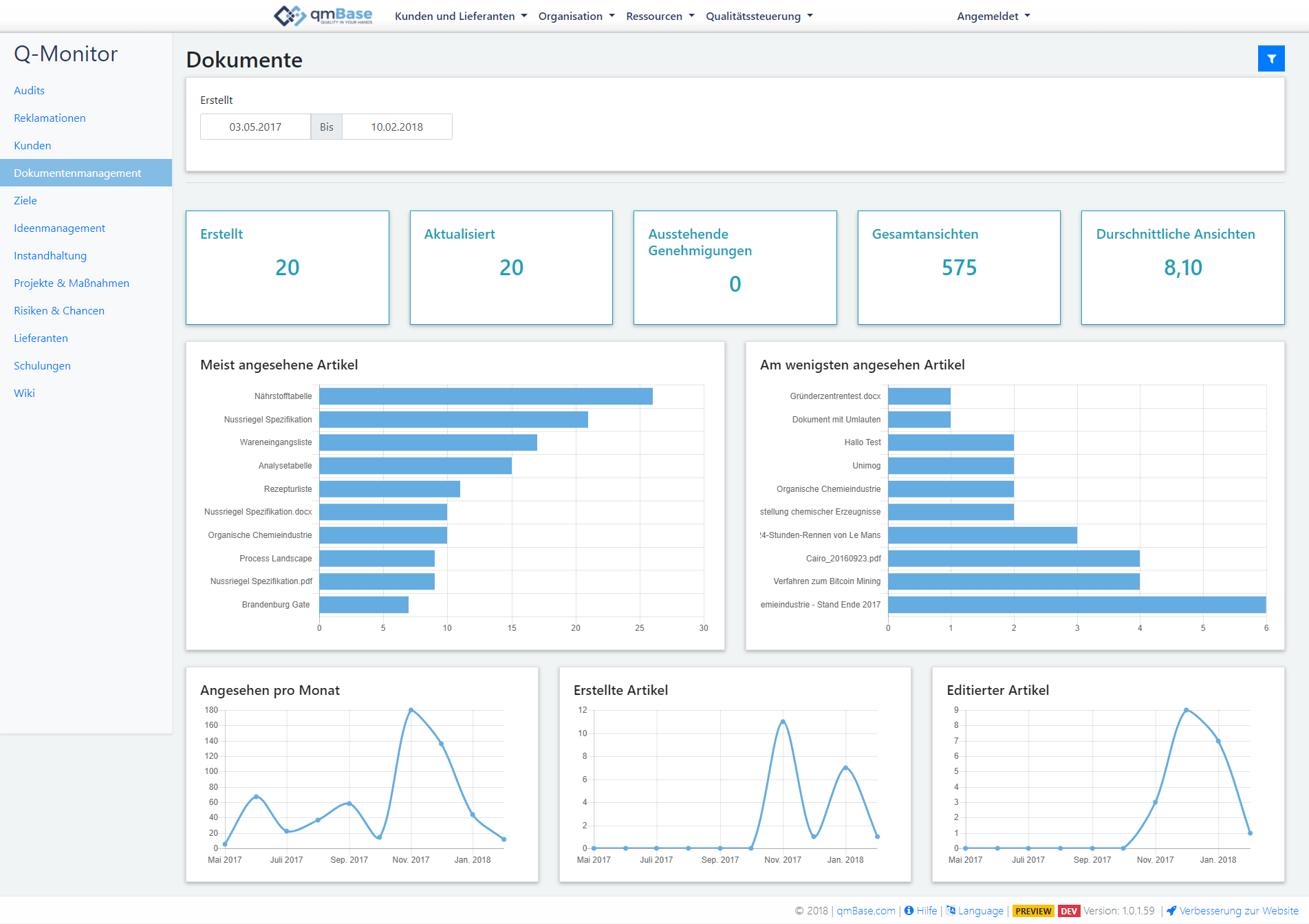 Document Management Software Dashboard