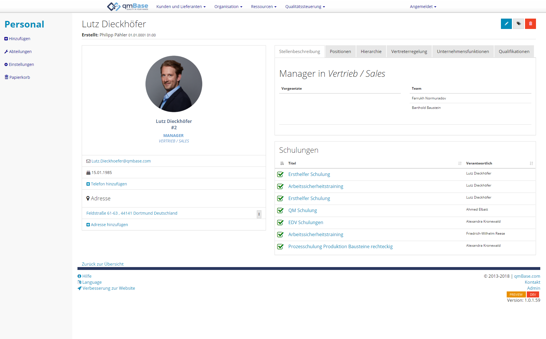 Training Management Software Individual Page