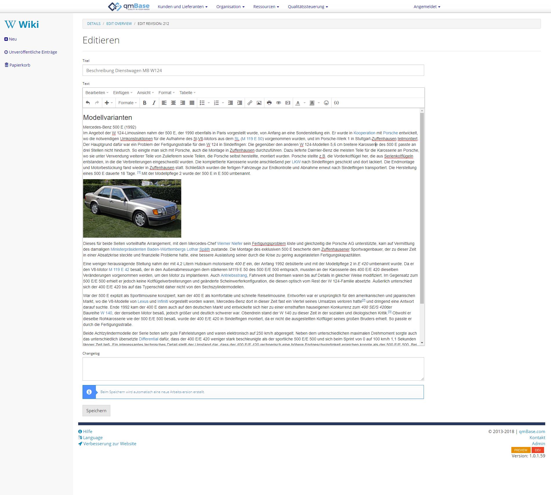 Unternehmenswiki Software Deteilseite editieren