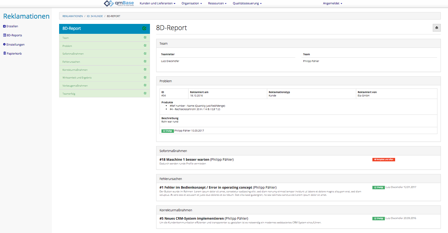 Reklmationsmanagement Software 8D Report