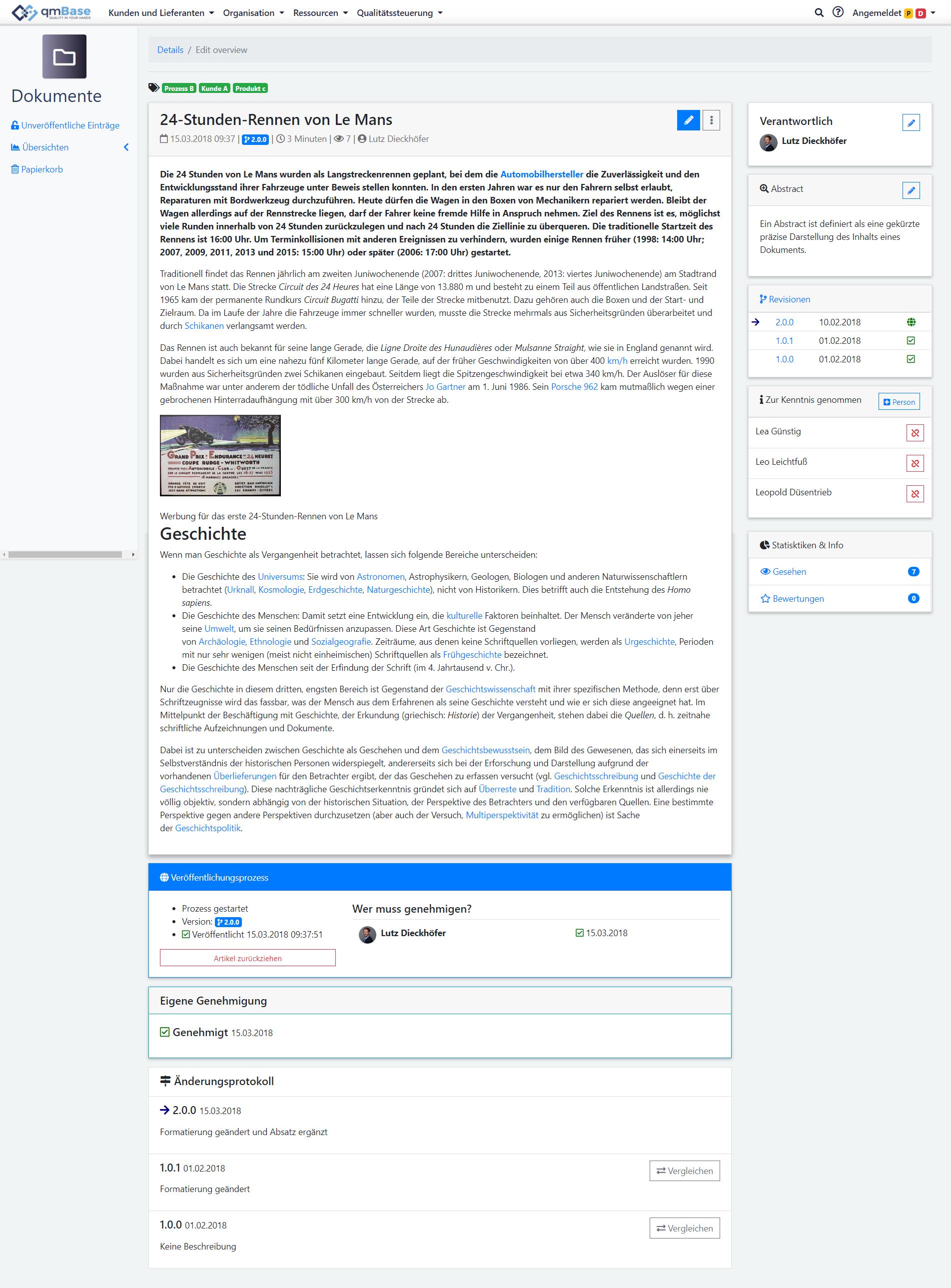 Dokumentenmangement Software Editoransicht