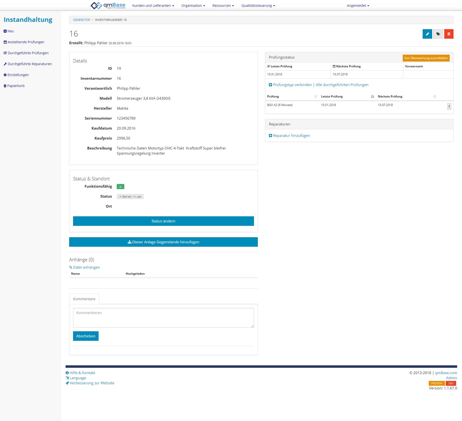 Prüfmittelverwaltung Instandhaltungsmanagement Software Details