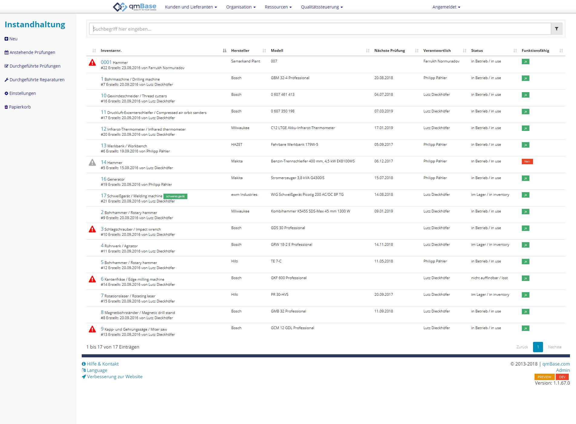 Prüfmittelverwaltung Instandhaltungsmanagement Software Index
