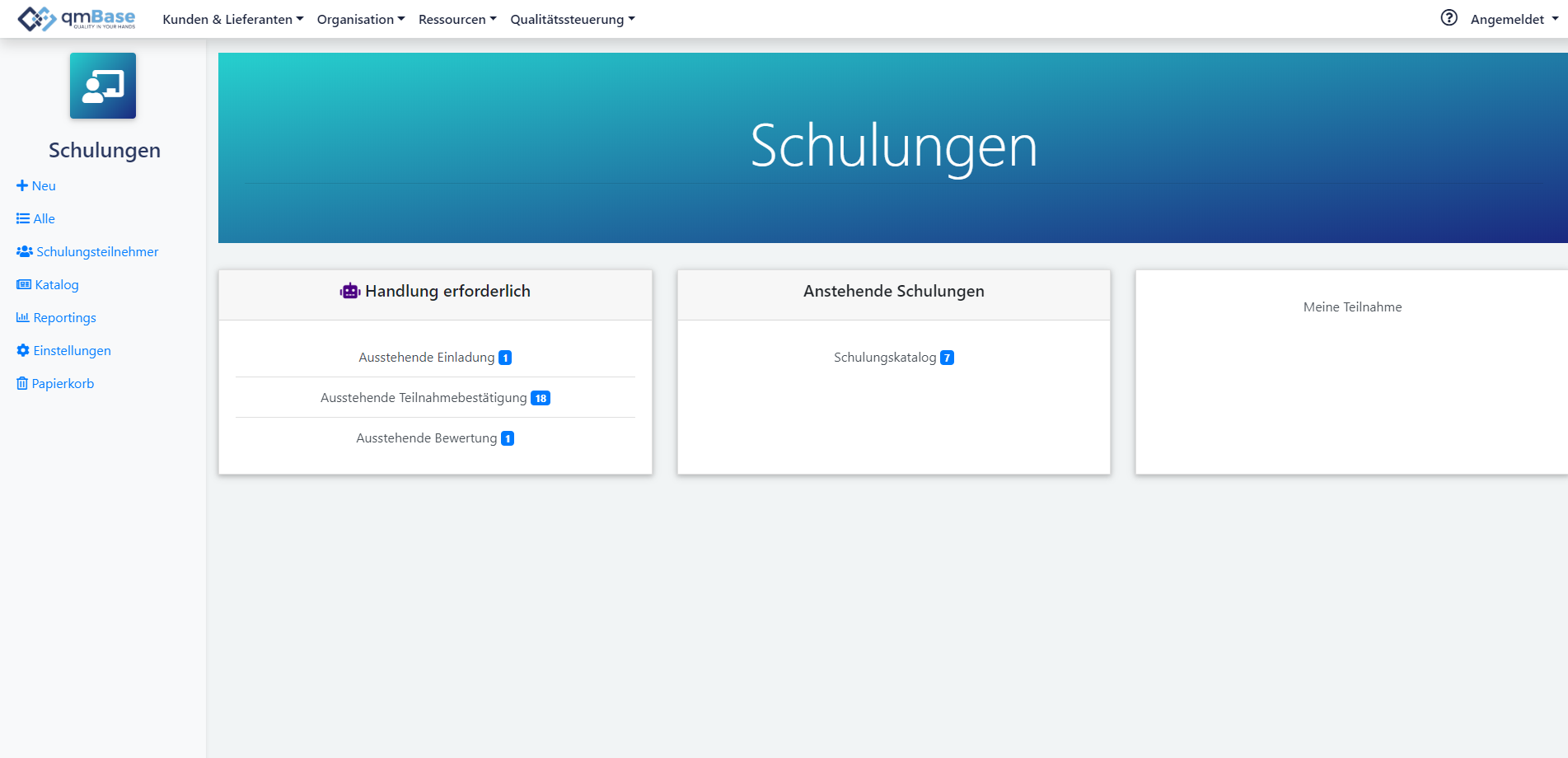 Schulungsmanagement in qmBase