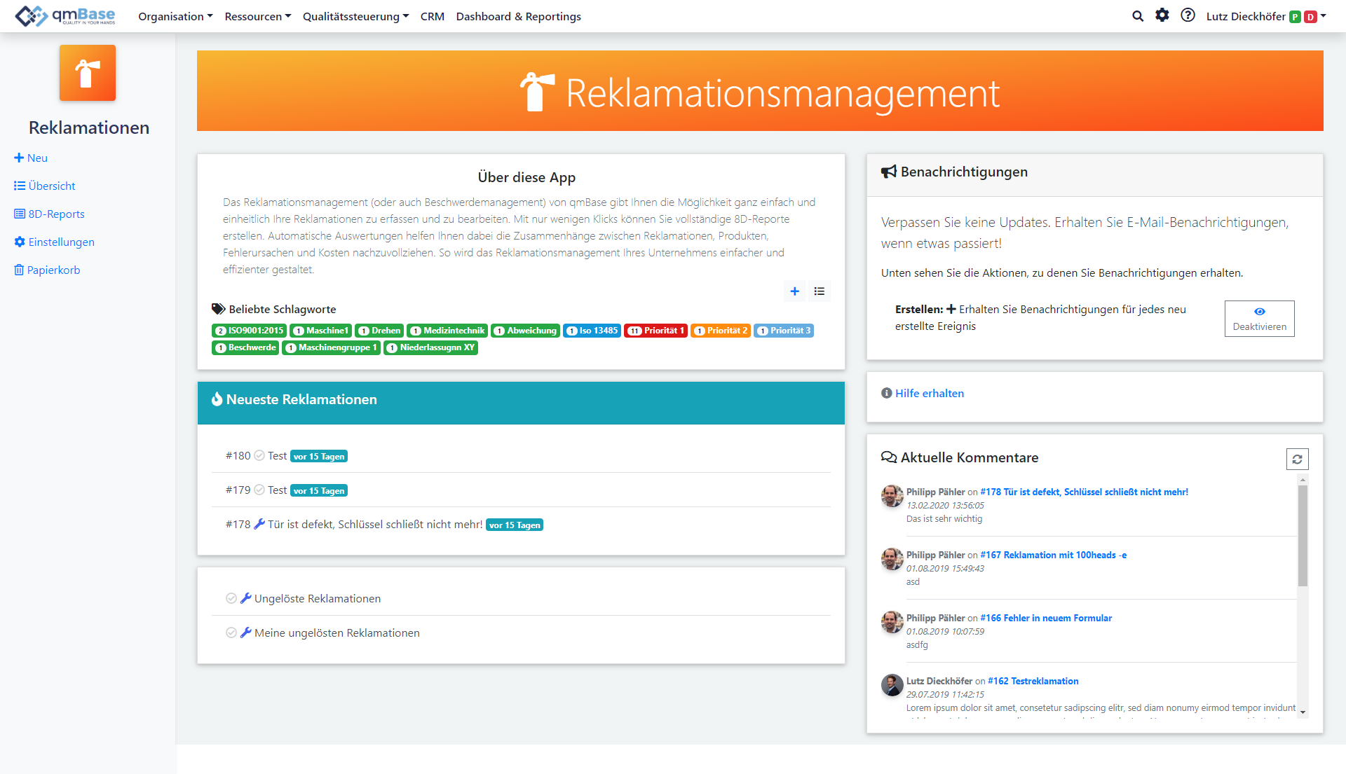 Claim Management Software Starting Page