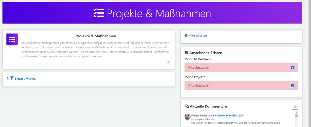 qmBase Software Changelog Projekte und Maßnahmen