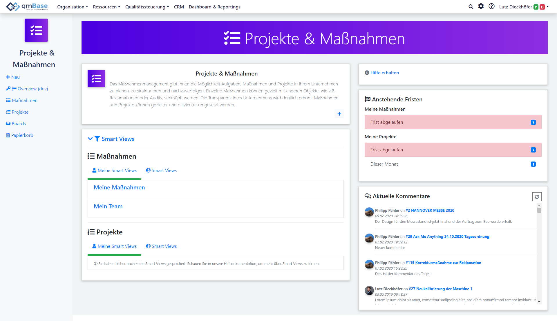 Homepage of the task management software