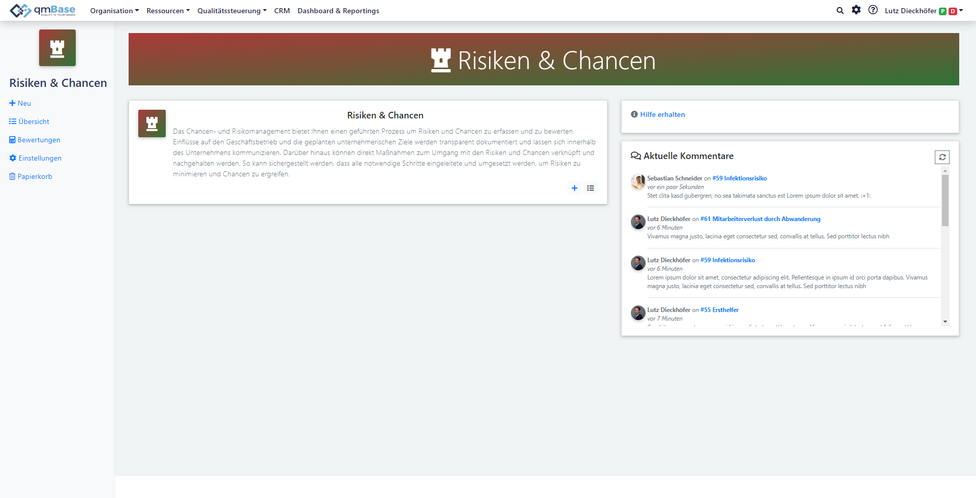 Chancen- & Risikomanagement Software Startseite