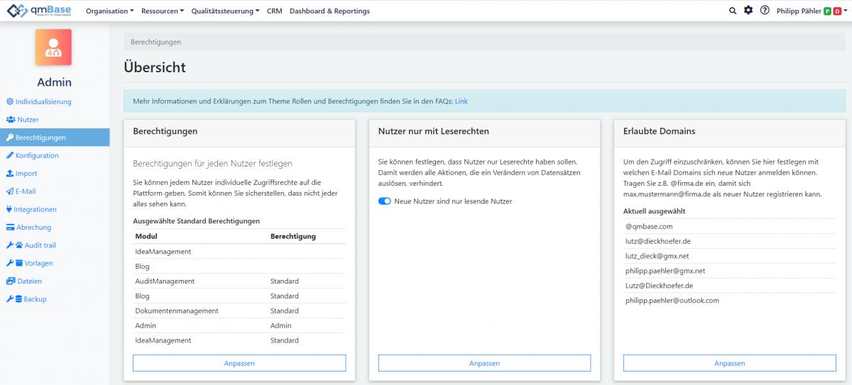 qmBase Changelog Admin
