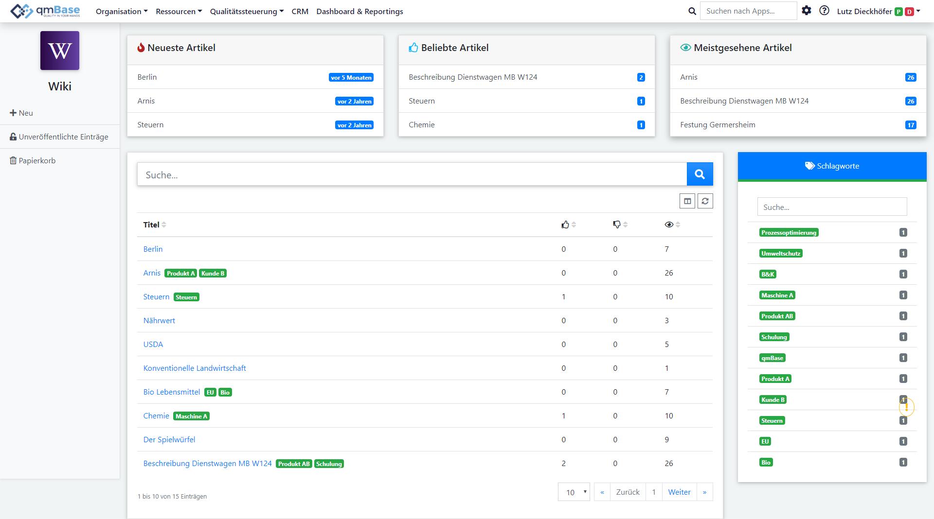 Company wiki software homepage