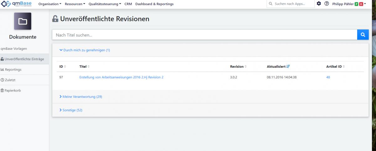 Dokumentenmanagement qmBase Software Browser unveröffentlichte Dokumente