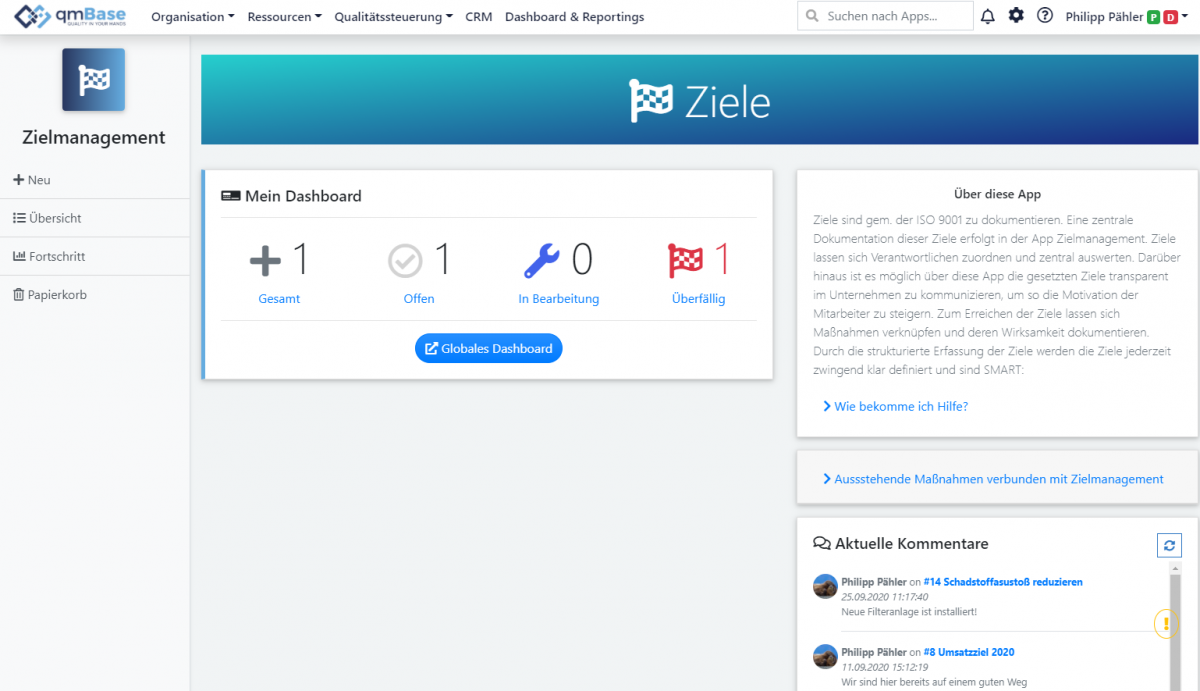 Zielmanagement Changelog qmBase
